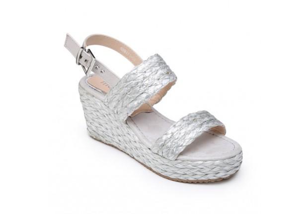Sandale compensée raphia